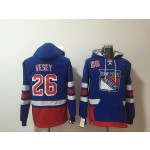 NHL New York Rangers #26 Jimmy Vesey Blue All Stitched Hooded Sweatshirt
