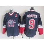 Men's New York Rangers #9 Adam Graves Navy Blue Throwback CCM Jersey
