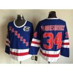 Men's New York Rangers #34 John Vanbiesbrouck Blue 75TH Throwback CCM Jersey