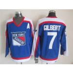 Men's New York Rangers #7 Rod Gilbert Blue with White Throwback CCM Jersey