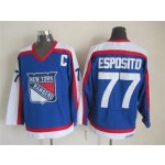 Men's New York Rangers #77 Phil Esposito Blue with White Throwback CCM Jersey