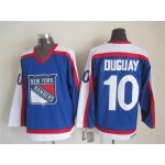 Men's New York Rangers #10 Ron Duguay Blue with White Throwback CCM Jersey