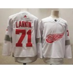 Detroit Red Wings #71 Dylan Larkin White Men's Adidas 2020-21 Reverse Retro Alternate NHL Jersey