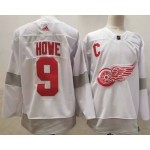 Detroit Red Wings #9 Gordie Howe White Men's Adidas 2020-21 Reverse Retro Alternate NHL Jersey