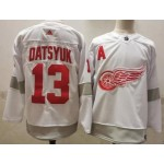 Detroit Red Wings #13 Pavel Datsyuk White Men's Adidas 2020-21 Reverse Retro Alternate NHL Jersey