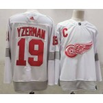 Detroit Red Wings #19 Steve Yzerman White Men's Adidas 2020-21 Reverse Retro Alternate NHL Jersey