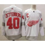 Detroit Red Wings #40 Henrik Zetterberg White Men's Adidas 2020-21 Reverse Retro Alternate NHL Jersey