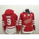 NHL Detroit Red Wings #9 Gordie Howe Red All Stitched Hooded Sweatshirt
