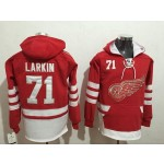 NHL Detroit Red Wings #71 Dylan Larkin Red All Stitched Hooded Sweatshirt