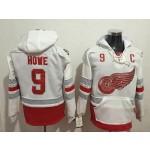 NHL Detroit Red Wings #9 Gordie Howe White All Stitched Hooded Sweatshirt