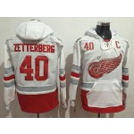 NHL Detroit Red Wings #40 Henrik Zetterberg White All Stitched Hooded Sweatshirt
