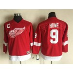 Youth Red Wings #9 Gordie Howe Red Throwback CCM Jersey