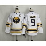 Youth Buffalo Sabres #9 Jack Eichel White 50th Anniversary Gold Edition Adidas Jersey