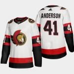 Men's Ottawa Senators #41 Craig Anderson White Adidas 2020-21 Player Away New 2D Jersey