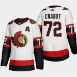 Men's Ottawa Senators #72 Thomas Chabot White Adidas 2020-21 Player Away New 2D Jersey
