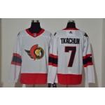 Men's Ottawa Senators #7 Brady Tkachuk White Adidas 2020-21 Player Away New 2D Jersey