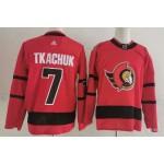 Ottawa Senators #7 Brady Tkachuk Red Men's Adidas 2020-21 Reverse Retro Alternate NHL Jersey