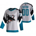 San Jose Sharks Custom Grey Men's Adidas 2020-21 Reverse Retro Alternate NHL Jersey (Name and number remark in comment column)
