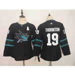 Youth San Jose Sharks #19 Joe Thornton Black Adidas Jersey