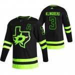 Dallas Stars #3 John Klingberg Black Men's Adidas 2020-21 Reverse Retro Alternate NHL Jersey