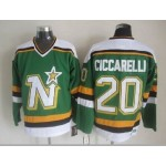 Men's Minnesota North Stars #20 Dino Ciccarelli Green Throwback CCM Jersey