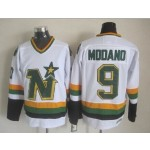 Men's Minnesota North Stars #9 Mike Modano White Throwback CCM Jersey