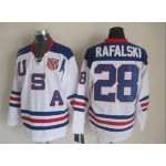 NHL 2010 Team USA Olympic #28 Brian Rafalski White Throwback jersey