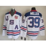 NHL 2010 Team USA Olympic #39 Ryan Miller White Throwback jersey