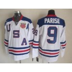 NHL 2010 Team USA Olympic #9 Zach Parise White Throwback jersey