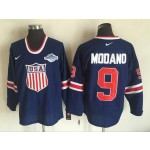 NHL 2014 Team USA Olympic #9 Mike Modano Navy blue Throwback jersey