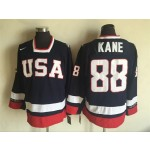 NHL 2010 Team USA Olympic #88 Patrick Kane Navy blue Throwback jersey