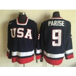 NHL 2010 Team USA Olympic #9 Zach Parise Navy blue Throwback jersey
