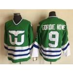 Men's Hartford Whalers #9 Gordie Howe Green Throwback CCM Jersey