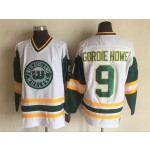 Men's New England Whalers #9 Gordie Howe White Throwback CCM Jersey