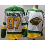 Minnesota Wild #97 Kirill Kaprizov White Men's Adidas 2020-21 Reverse Retro Alternate NHL Jersey