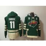 NHL Minnesota Wild #11 Zach Parise Green All Stitched Hooded Sweatshirt