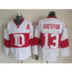 Men's Detroit Red Wings #13 Pavel Datsyuk 2008-09 White CCM Throwback Jersey