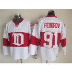 Men's Detroit Red Wings #91 Sergei Fedorov 2008-09 White CCM Throwback Jersey