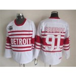 Men's Detroit Red Wings #91 Sergei Fedorov White 75TH Throwback CCM Jersey