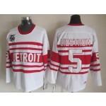 Men's Detroit Red Wings #5 Nicklas Lidstrom White 75TH Throwback CCM Jersey