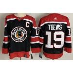 Chicago Blackhawks #19 Jonathan Toews Black Men's Adidas 2020-21 Reverse Retro Alternate NHL Jersey