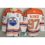 Edmonton Oilers #97 Connor McDavid White Men's Adidas 2020-21 Reverse Retro Alternate NHL Jersey