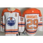 Edmonton Oilers #29 Leon Draisaitl White Men's Adidas 2020-21 Reverse Retro Alternate NHL Jersey
