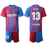 21-22 Barcelona #13 Norberto Neto Blue and Red Home jersey
