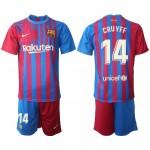 21-22 Barcelona #14 Johan Cruyff Blue and Red Home jersey