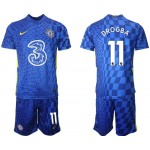 21-22 Chelsea #11 Didier Drogba Blue Home Soccer Jersey