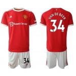 21-22 Manchester United #34 Donny Van de Beek Red Home Soccer Jersey