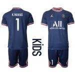 21-22 Youth Paris Saint-Germain F.C #1 Keylor Navas Navy Home Soccer Jersey
