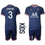 21-22 Youth Paris Saint-Germain F.C #3 Presnel Kimpembe Navy Home Soccer Jersey