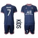 21-22 Youth Paris Saint-Germain F.C #7 Kylian Mbappe Navy Home Soccer Jersey
